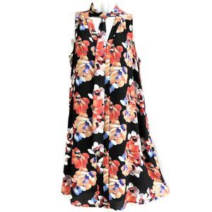 CeCe Dress Shift Lined Floral Bow Tie Summer 8